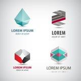 Vektoruppsättning av abstrakta origamilogoer, kristall, isolerade fasetterade pappers- symboler stock illustrationer
