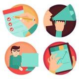 Vektoruppsättning av affärsidéer stock illustrationer