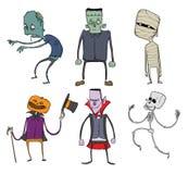 Vektoruppsättning av allhelgonaaftontecken Levande död, skelett, mamma, Dracula och andra läskiga monster Illustration som isoler stock illustrationer