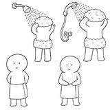 Vektoruppsättning av att duscha för män vektor illustrationer