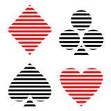Vektoruppsättning av att spela kortsymboler Svart och röda fodrade symboler som isoleras på bakgrunderna Arkivbild