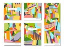 Vektoruppsättning av av abstrakta geometriska kort vektor illustrationer