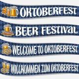 Vektoruppsättning av band för Oktoberfest royaltyfri illustrationer