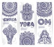 Vektoruppsättning av baner med person som tillhör en etnisk minoritet- och yogasymboler Royaltyfri Bild