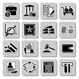Vektoruppsättning av bankrörelsesymboler stock illustrationer