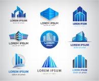 Vektoruppsättning av blått, modernt kontor, företag royaltyfri illustrationer
