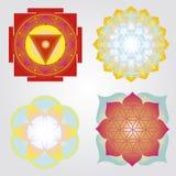 Mandalas- och Yantras uppsättning Arkivfoto