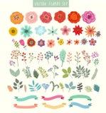 Vektoruppsättning av blommor och etiketter Arkivbilder