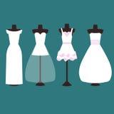 Vektoruppsättning av bröllopsklänningar i vit och rosa färger stock illustrationer
