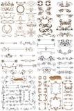 Vektoruppsättning av calligraphic beståndsdelar för design Arkivfoto