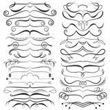 Vektoruppsättning av calligraphic beståndsdelar för design Dekorativa virvlar, snirklar, avdelare Tappningvektorillustration Arkivfoto