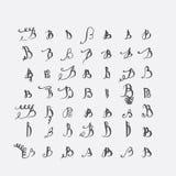 Vektoruppsättning av calligraphic bokstäver B som är handskriven med det spetsiga stiftet som dekoreras med krusidullar och dekor stock illustrationer