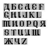 Vektoruppsättning av calligraphic bokstäver för alfabet Arkivbilder