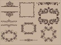 Vektoruppsättning av Calligraphic designbeståndsdelar och Arkivbilder