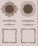 Vektoruppsättning av Calligraphic designbeståndsdelar och Royaltyfri Fotografi