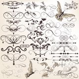 Vektoruppsättning av calligraphic designbeståndsdelar och sidagarneringar Royaltyfria Foton