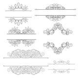 Vektoruppsättning av calligraphic designbeståndsdelar och sidagarneringar Arkivfoto