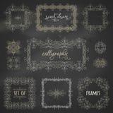 Vektoruppsättning av calligraphic ramar för krita royaltyfri illustrationer