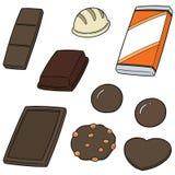 Vektoruppsättning av choklad Arkivbild