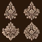 Vektoruppsättning av damast dekorativa beståndsdelar Eleganta blom- abstrakta beståndsdelar för design Göra perfekt för inbjudnin Royaltyfria Bilder