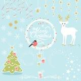Vektoruppsättning av dekorativa beståndsdelar för jul stock illustrationer