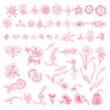 Vektoruppsättning av dekorativa blom- beståndsdelar Stock Illustrationer
