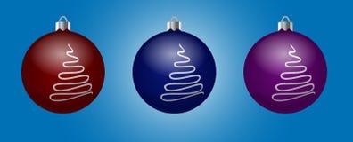 Vektoruppsättning av dekorativa bollar med bildgran-trädet Royaltyfri Illustrationer
