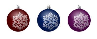Vektoruppsättning av dekorativa bollar med bildsnöflingorna Royaltyfri Fotografi