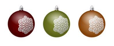 Vektoruppsättning av dekorativa bollar med bildsnöflingorna Royaltyfri Bild