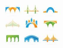 Vektoruppsättning av den abstrakta logoen för broanslutning Arkivbild