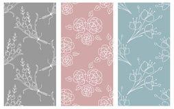 Vektoruppsättning av den blom- illustrationen Pastellfärgade sömlösa modeller med buketten med blommor, sidor, dekorativa bestånd royaltyfri illustrationer