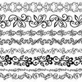 Vektoruppsättning av den dekorativa blom- prydnaden Royaltyfri Bild