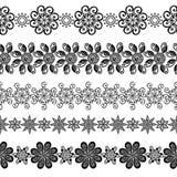 Vektoruppsättning av den dekorativa blom- prydnaden Royaltyfria Foton