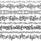 Vektoruppsättning av den dekorativa blom- prydnaden Royaltyfria Bilder
