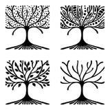 Vektoruppsättning av den hand drog illustrationen, dekorativt dekorativt stiliserat träd Svartvit grafisk illustration som isoler stock illustrationer