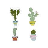 Vektoruppsättning av den hand drog kaktuns Arkivbild