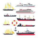Vektoruppsättning av den havsskepp, fartyg och yachten som isoleras på vit bakgrund Designbeståndsdelar för marin- transport, sym stock illustrationer