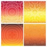 Vektoruppsättning av den indiska mandalaen på orange lutningbakgrund Bohemisk prydnad för affischer, baner, kort Arkivbilder