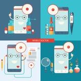Vektoruppsättning av den mobila doktorn, sjukvård Royaltyfri Illustrationer