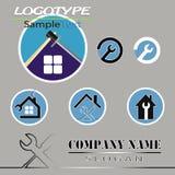 Vektoruppsättning av den olika logoen av konstruktionsfirmorna stock illustrationer