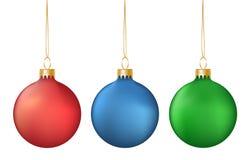 Vektoruppsättning av den realistiska färgrika hängande julbollisolaten Arkivbilder
