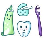 Vektoruppsättning av den tecknad filmtandkräm, tandborsten, floss och tanden Royaltyfri Foto