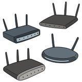 Vektoruppsättning av den trådlösa routeren Arkivfoto