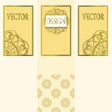 Vektoruppsättning av designbeståndsdelar, etiketter och ramar för att förpacka för lyxiga produkter i tappningstil - ställen och  Royaltyfri Bild