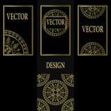Vektoruppsättning av designbeståndsdelar, etiketter och ramar för att förpacka för lyxiga produkter i tappningstil - ställen och  Arkivbild
