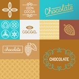 Vektoruppsättning av designbeståndsdelar för att förpacka för choklad royaltyfri illustrationer