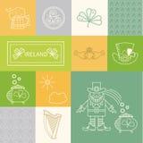 Vektoruppsättning av designbeståndsdelar IRLAND Arkivfoton