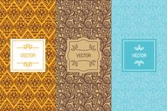 Vektoruppsättning av designbeståndsdelar och mallar för mat eller chocolat vektor illustrationer