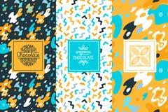 Vektoruppsättning av designbeståndsdelar och sömlös modell för choklad royaltyfri illustrationer