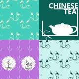 Vektoruppsättning av designbeståndsdelar och symboler i linjär stil för tepacken - kinesiskt te Royaltyfri Fotografi